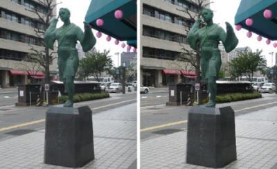 熊本 おてもやん像 平行法立体画像