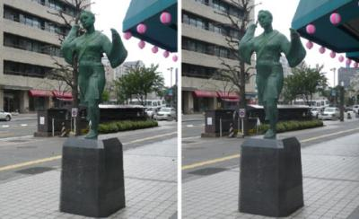 熊本 おてもやん像 交差法立体写真